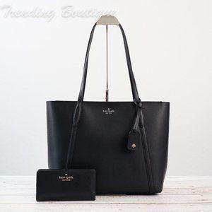 NWT Kate Spade Cara Large Tote & Bifold Wallet in Black *SET*